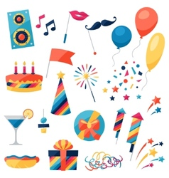 Celebration set of party icons and objects vector image vector image