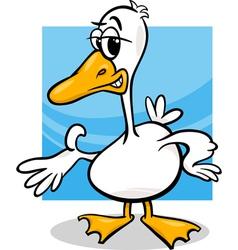 Duck or goose cartoon farm bird vector