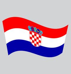 flag of croatia waving on gray background vector image