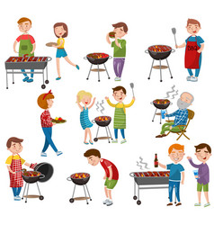 happy people eating and cooking grilled meat vector image