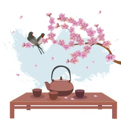 Sakura postcard advertising tea and coffee vector image vector image