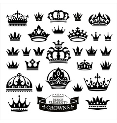 Set of various crowns isolated on white vector image