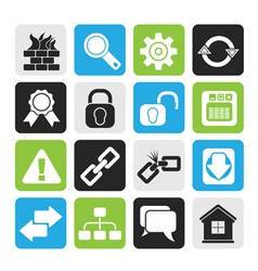 Silhouette Internet and web site icons vector image vector image
