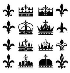 crown and fleur de lis lily flowers royal vector image