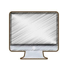 Drawing computer screen monitor technology vector
