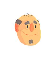 mature balding man face avatar positive male vector image vector image