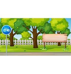 Park scene with bike lane vector image