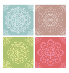 pastel mandala seamless patterns collection vector image