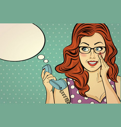 red-haired woman with glasses gossip at retro vector image vector image