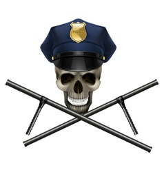 skull in a police cap vector image