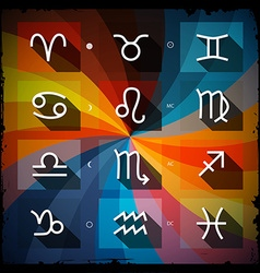 Zodiac - Horoscope Square Icons Set on Grunge vector image vector image