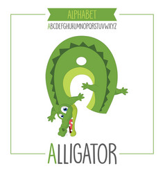 Alphabet letter a and alligator vector