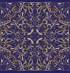 blue handkerchief with gold ornament vector image vector image