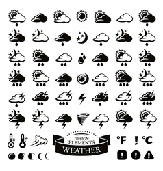 Collection of different weather icons vector image