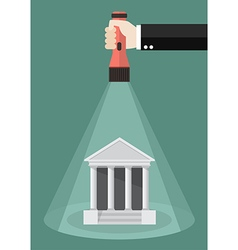 Hand holding flashlight glow to the bank icon vector image
