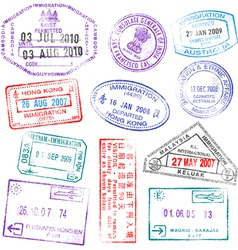 highly detailed passport stamps vector image vector image