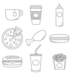 junk food logo collection poster vector image vector image