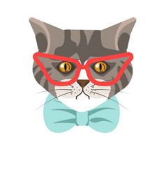siberian cat with red glasses and blue tie vector image vector image