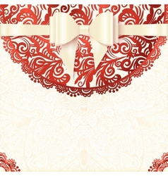 White and red vintage lacy wedding card vector image