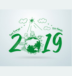 2019 new year in creative drawing environmental vector image