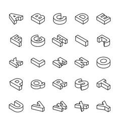 3d alphabet letters line set vector