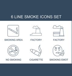 6 smoke icons vector