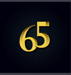 65 years anniversary gold number template design vector