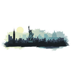 abstract landscape of the city with sights vector image