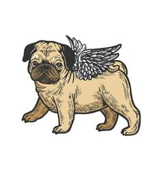 angel pug puppy color sketch engraving vector image