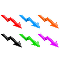 arrows colored down financinal 3d signs vector image