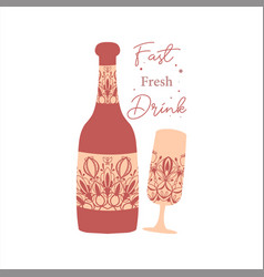Auburn red concept style bottle and glass vector