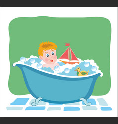 bathing baby in tub with toys vector image