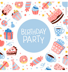 birthday party banner template with sweets and vector image