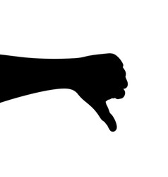 black hand silhouette hand gesturesthumbs down vector image