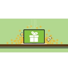 bonus wih gift box on the screen of the laptop and vector image