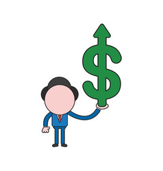businessman character holding dollar symbol with vector image