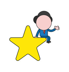 Businessman character sitting on star color and vector