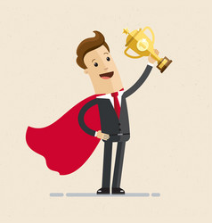 businessman in a red cloak holding winner cup vector image