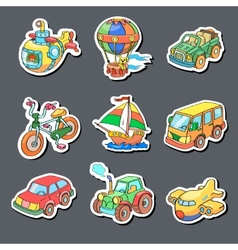 cartoon collection transportation - colored vector image