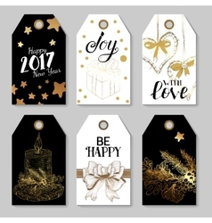 Christmas golden tags set vector