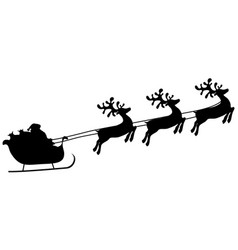 Christmas reindeers are carrying santa claus in a vector