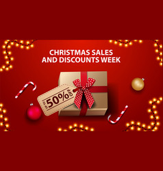 christmas sales and discount week red banner with vector image