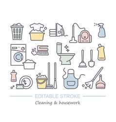 cleaning and housework icons with editable stroke vector image