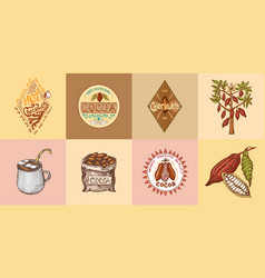 cocoa and hot chocolate logos modern vintage vector image