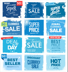 collection blue grunge retro sale background vector image