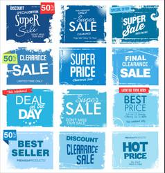 Collection blue grunge retro sale background vector