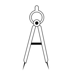 Compass geometric tool symbol in black and white vector