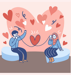 couple communicate with each other via tin can vector image