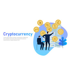 cryptocurrency and blockchain composition big vector image