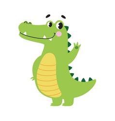 Cute crocodile waving its paw funny alligator vector